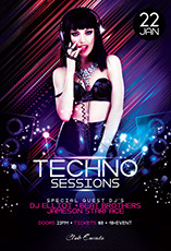 Techno Sessions Flyer Template